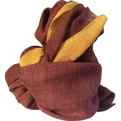 Scarf in alpaca mustard and red wine
