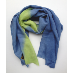 Scarf in baby alpaca and silk lemon and blue