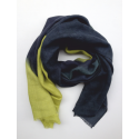 Scarf baby alpaca blue and yellow