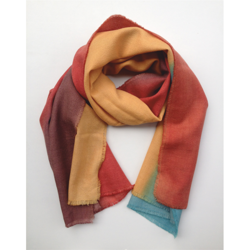Scarf Stole orange and green