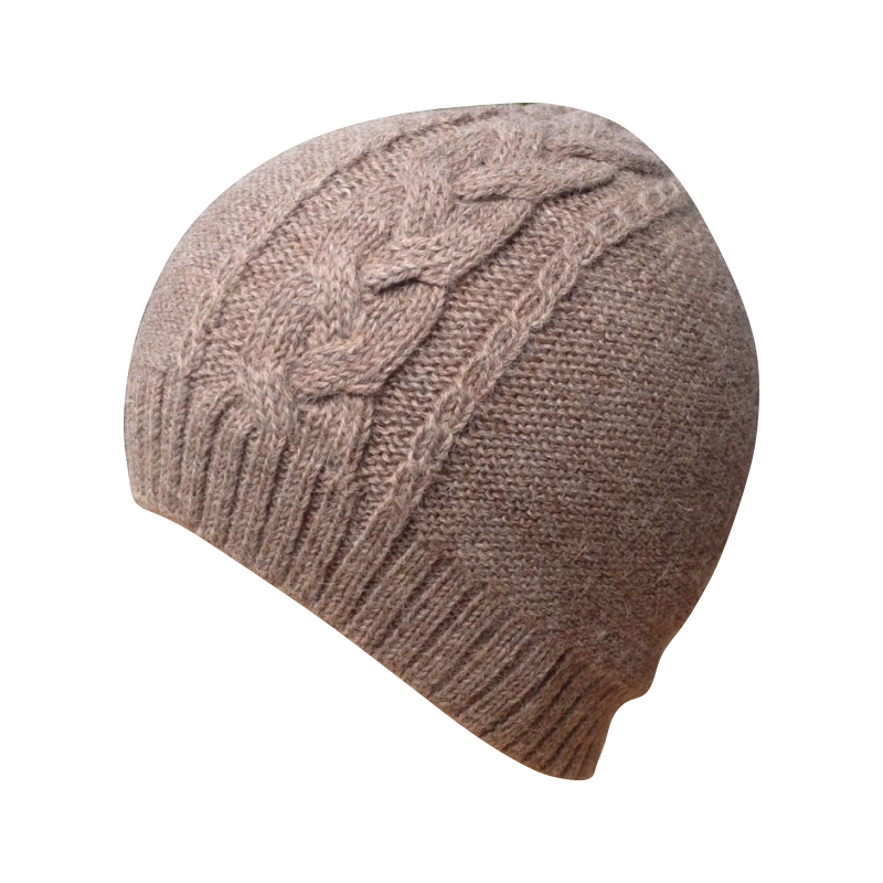 Hat Beanie woman alpaca brown light