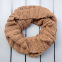 Snood laine couleur brun chameau