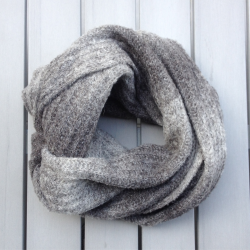Infinity scarf gray eco friendly alpaca wool