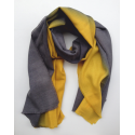 Scarf Stole baby alpaca blue and mustard